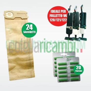 Kit Ricambi Folletto Compatibili VK120 VK121 VK122 24 Sacchetti 20 Profumi