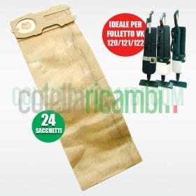 Sacchetti Compatibili per Vorwerk Folletto VK120 VK121 VK122 (24 PZ)