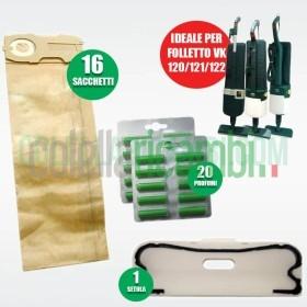 Kit Ricambi Folletto Compatibili VK120 VK121 VK122 16 Sacchetti 20 Profumi 1 Setola