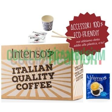 Kit 150 Cialde Miscela DECAFFEINATO (150 Cialde 150 Palettine in legno 150 Bicchierini in Carta 150 Bustine di Zucchero)