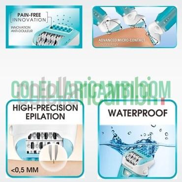 Rowenta EP9330 Aqua Perfect Soft Epilatore Wet & Dry con 4 Accessori