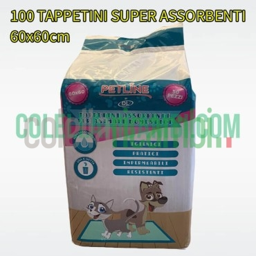 100 Tappetini Assorbenti Igienici per Animali Cani Gatti Domestici 60x60cm