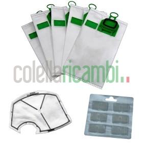 Kit Risparmio Adattabile 6 Sacchetti 1 Filtro Motore 1 Dovina VK 140 VK150