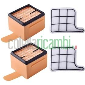 Kit Risparmio 2 Filtro Motore con 2 Filtro Hepa Adattabile per Folletto Vk135 Vk136