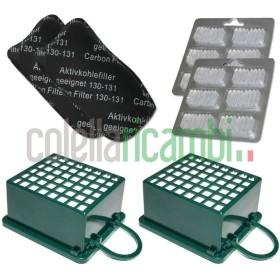 Kit 2 Filtri Hepa 2 Filtri Odori 12 Profumini Adattabile per Folletto Vk 130 Vk131