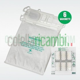Sacchetti Originali Vorwerk Folletto Super Filtrello VK135 VK136 + Dovina (6 PZ)